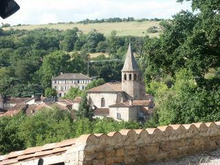 Vue du village de Monesties depuis la terrasse du gite